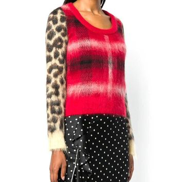 No. 21 Checked Leopard Sleeve Sweater
