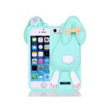 """Bling Sweet Cases® 3D Lovely Cartoon Blue Bunny Rabbit Rubber Soft Silicone Phone Case Cover For iPhone 6 -size 4.7"""""""