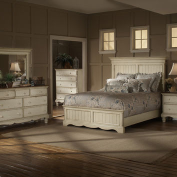 1172-wilshire-panel-bed-king-rails-nightstand-dresser-and-mirror - Free Shipping!
