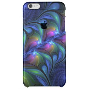 Colorful Luminous Abstract Blue Pink Green Fractal Clear iPhone 6 Plus Case