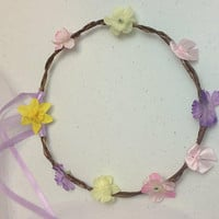 Woodland fairy halo crown for boho flower girl hair accessory or princess birthday party gift for child