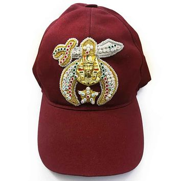 Shriner Jewel Embroidered Maroon Cap