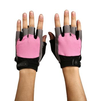 Aolikes Durable Shock Resistant Pad Breathable Mesh Fabric Training Sports Gym Gloves Fitness Hand Wearing Glove + Wrist Buckle