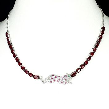 Natural TCW Oval Cut Red Ruby & Pink Sapphire Jaguar Necklace