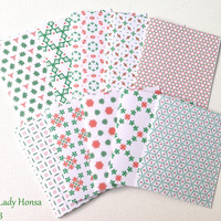 Red, white and green unique Christmas cards, geometrical patterned handmade cards with envelopes, blank geometric cards, Merry Christmas