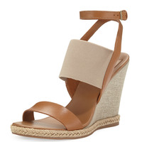 Niello Metallic Wedge Sandal, Royal Tan
