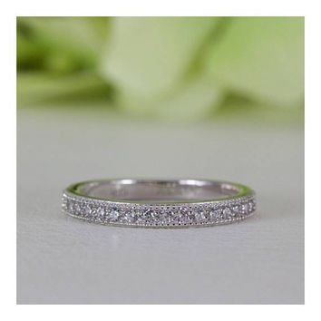 Micropavé Vintage Style Cubic Zirconia Half Eternity Wedding Band Ring In Sterling Silver