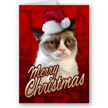 Merry Christmas Grumpy Cat Greeting Cards from Zazzle.com