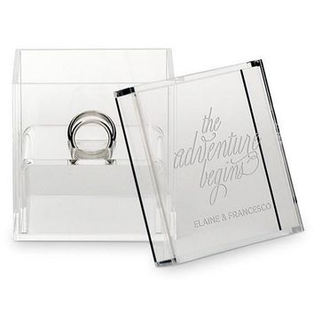Personalized Acrylic Ring Box - The Adventure Begins Etching