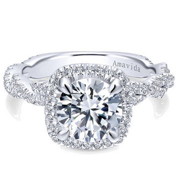 "Gabriel Amavida ""Carrick"" Cushion Halo Diamond Twist Engagement Ring"