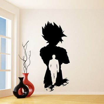 Vinyl Wall Decal Dragon Ball Z, GT / Super Saiyan Goku DBZ Sticker / Kakarot Silhouette Ready for Battle Decals + Free Random Decal