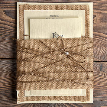 Burlap Twine Wedding Invitation, Country Wedding Invitation,  Rustic Wedding  Invitation, Shabby Chic Invitation , Bellyband Invitation