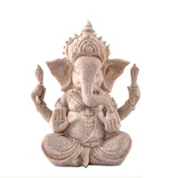 Hand Carved Sandstone Seated Ganesh Buddha Deity Elephant Hindu Statue Decor Home Ornaments Lucky figurine, arts and crafts 3
