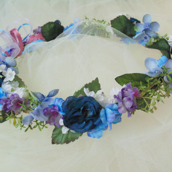 Flower Garden Splendor Wreath, Blue/Purple/White Floral Wedding Crown, Bridesmaid Tiara, Birthday Crown, Wall Wreath,