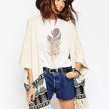 Beige Geometric Print Bell Sleeve Knitted Fringed Cardigan