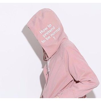 """""""How to pretend to be normal?"""" Trench Hooded Overcoat"""