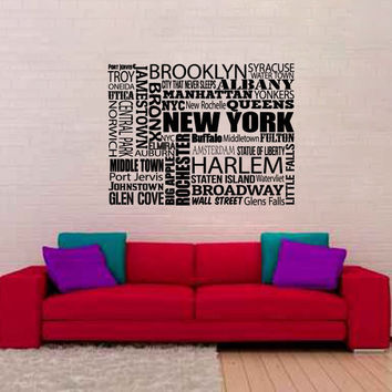 The Cities of New York Vinyl Wall Words Decal Sticker Graphic