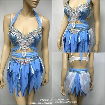 Disney Princess Cinderella Bra with Skirt Cosplay Dance Halloween Costume