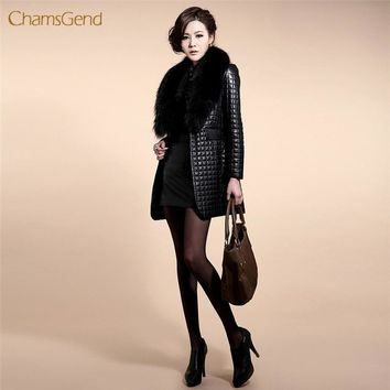 CHAMSGEND 2018 Faux Fur Coat Winter Black Fur Coat Long Sleeve Leather Outerwear Lady Long Style Plus Size Jacket Free Shipping