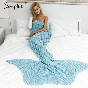 Simplee Fashion large fishtail knitted throw blanket Autumn winter warm sofa blanket Sleeping bed fish scale mermaid blanket
