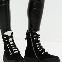 Missguided - Black Faux Shearling Tongue Biker Boot
