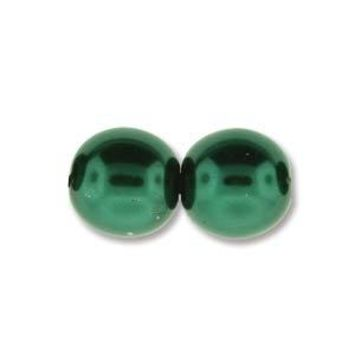 PRL08-70057 - 8mm Round Glass Pearls Deep Emerald, 75 Beads   1 Strand