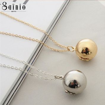Chic Ball Locket Necklace Sainio Secret Message Love Promise Pendant Necklaces Fashion Couples Jewelry Gift Femme Bijoux