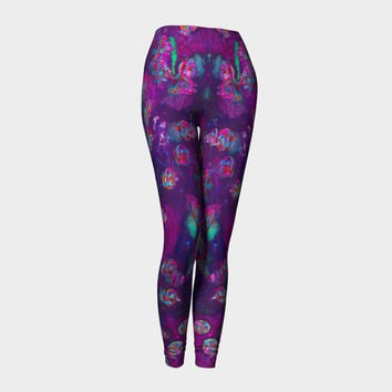 Purple Bumper Boats, Compression fit performance Leggings, XS,S,M,L,XL, Hot Yoga Pants, Activewear, yoga LegginsMade in Canada
