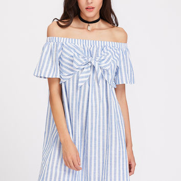 Blue Striped Bow Tie Bell Sleeve A-Line Dress
