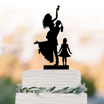 Funny Wedding Cake topper with child, drunk bride and groom silhouette with girl, family cake topper with kid