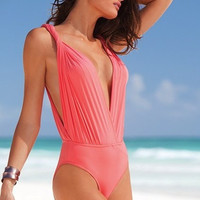 One Piece Monokini Swimsuit Plunge LC40318  crystal bikini swimwear = 1958151748