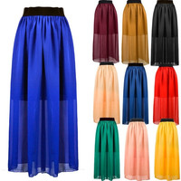 Lady Sexy Elegant Wide Hem Chiffon Elastic Waist 8 Colors Maxi Long Skirt New Z_G = 1946392452