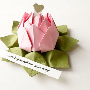 PERSONALIZED Origami Lotus Flower in Blossom Pink and Moss Green with gift box - get well, birthday, baby girl, bridesmaid