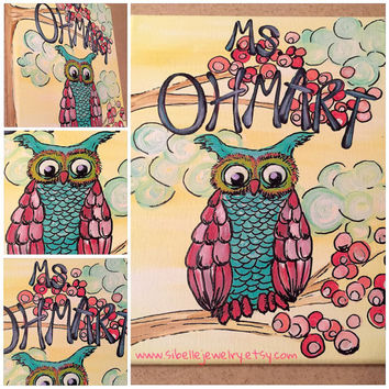 Owl art / personalized wall art / personalized teacher gifts / owl painting / owl wall art / bird painting / colorful wall art
