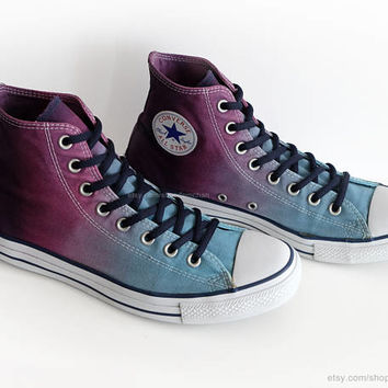 Ombré dip dye Converse All Stars, glacier blue, purple, wine, upcycled vintage sneakers, high tops, eu 44 (UK 10, US mens 10, US wo's 12)