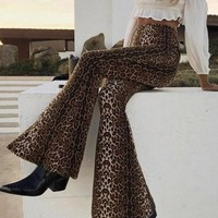 New Brown Leopard Pattern High Waisted Bell Bottom Extreme Flare Boho Casual Long Pants