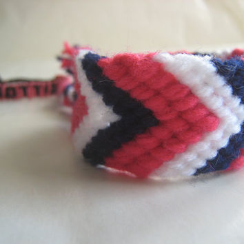 PINK WHITE and NAVY Wide Friendship Bracelet  Wish by greenyogini