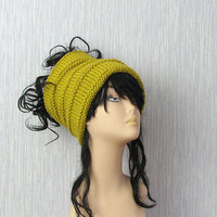 Dreadlock tube Hat  headband  head wrap in MUSTARD  Women Hat Plain wide hair accessory dreadlocks cover up
