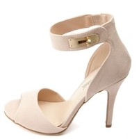Anne Michelle Twist Lock Peep Toe High Heels - Nude