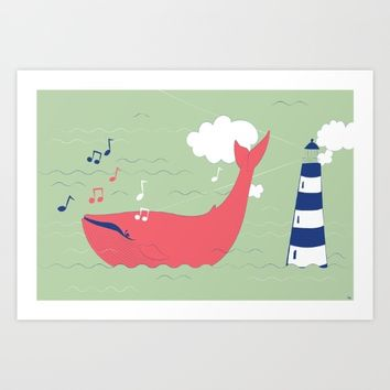 The Singing Whale Art Print by Texnotropio