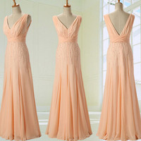 Blush Prom Dress Custom Made Size Color Elegant Formal V Neck Spaghetti Strap Zipper Up Back Long Chiffon Blush Evening Dresses