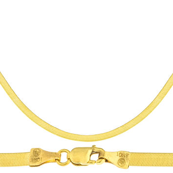 10k Yellow Gold 3mm Herringbone Chain Necklace 16-24inch