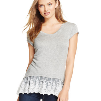 BCX Juniors' Short-Sleeve Lace-Hem Top