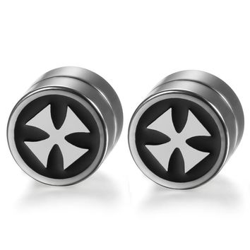 SHIPS FROM USA High Quality Magnetic Stud Earrings For Men Stainless Steel Magnet Men And Women Cross Earrings Jewelry