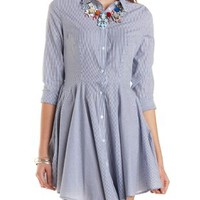 Seersucker Shirt Dress by Charlotte Russe - Navy Combo