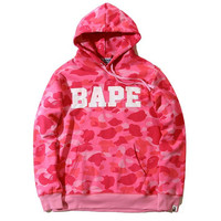 Bape Unisex Pullover Hoodies Cotton Tops Sweatshirt [9541465479]