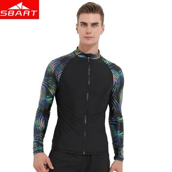 SBART 2018 Raglan Top Shirt High Printed Rash Guard Neck Comfort Long Sleeves Shirt Black Colorful Printed Fit Swim Rash Men