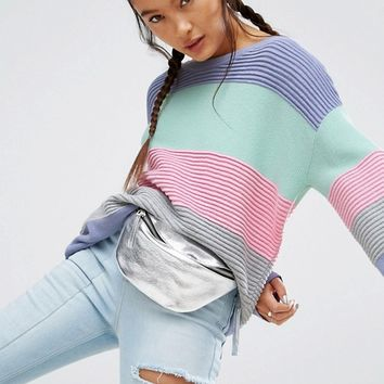 ASOS Jumper In Stripe And Ripple Stitch at asos.com