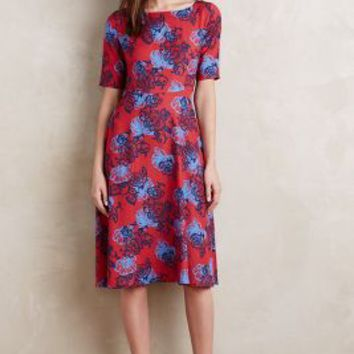HD in Paris Theodora Midi Dress in Red Motif Size: