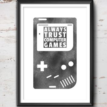 Game Quote Print, Gaming Poster, Gaming Art, Gaming Wall Art, Gaming Print, Gaming Illustration, Vintage, Gaming Decor, Retro, Hipster, Cool